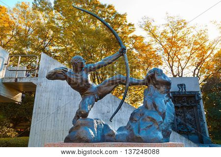 TOKYO, JAPAN - NOVEMBER 29 2015: National Museum of Western Art is the premier public art gallery specializing in Western traditional art located in museum and zoo complex in Ueno Park