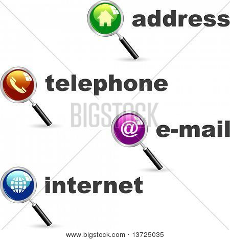 Contact icon set for design.