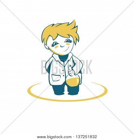 Simplified image little scientist with test tube in hand vector logo on a white background
