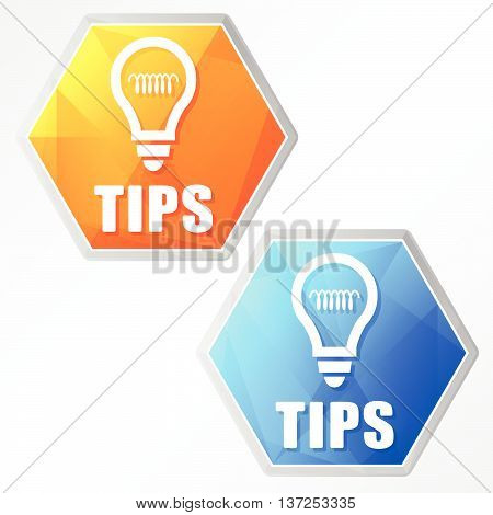 tips and bulb sign, two colors hexagons web icons, flat design, business support concept, vector