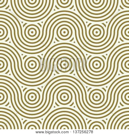 Vector seamless pattern graphic geometric wrapping paper. Abstract backdrop created with interweave undulate lines and circles
