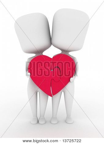 3D Illustration of a Man and Woman Joining the Pieces of a Puzzle Together