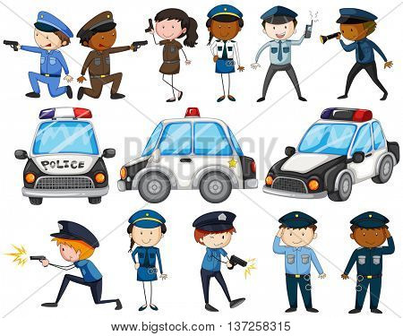 Set of police officers and cars illustration