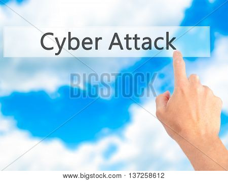 Cyber Attack - Hand Pressing A Button On Blurred Background Concept On Visual Screen.