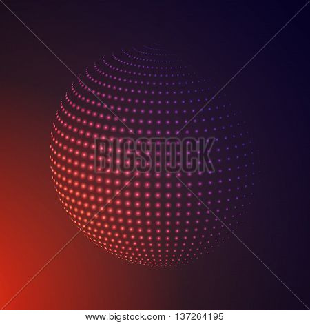Abstract 3D illuminated halftone sphere, glowing particles. Hi-tech technology Concept. Dotted globe vector illustration.