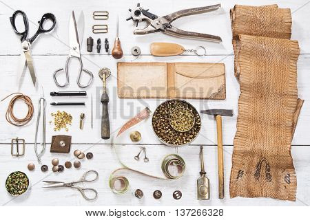 Leather craft tools and the snake skin