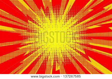 Red yellow pop art retro background cartoon lightning blast radiance vector illustration
