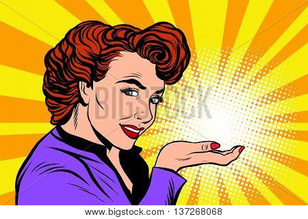 Retro woman advertising and light on the palm pop art retro, vector realistic hand drawing illustration. a mystery, a secret, a small miracle