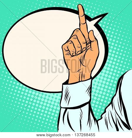 one index finger up gesture pop art retro vector realistic hand drawing illustration