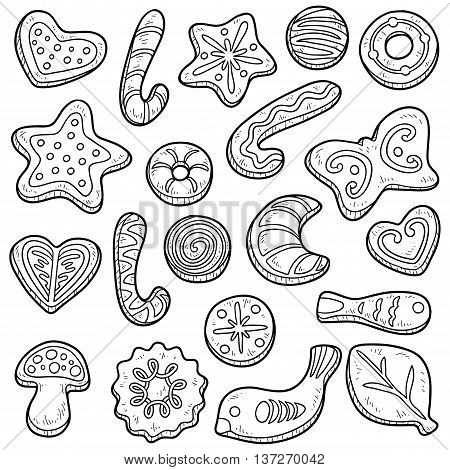 Collection Of Cookies, Vector Black And White Set