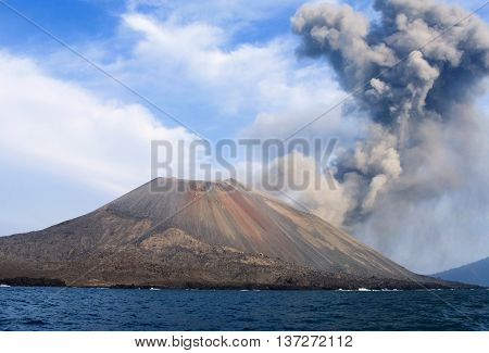 Volcano eruption of Anak Krakatau in Indonesia