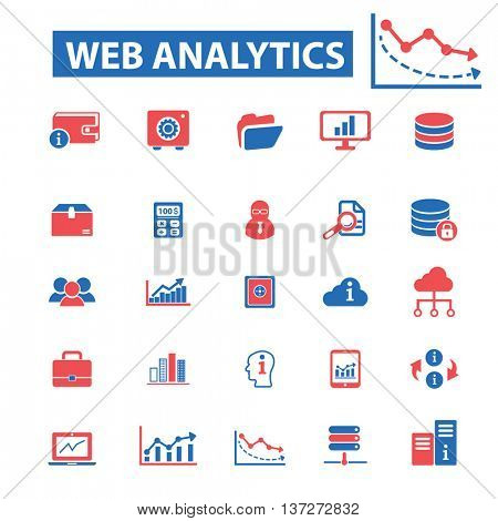 web analytics icons, signs vector concept