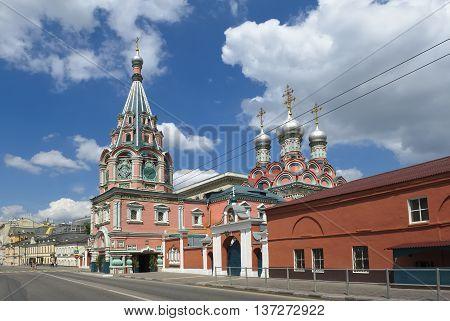 MOSCOW, RUSSIA - JUNE 23, 2016: Church of St. Gregory of Neo-Caesarea in Derbitsah built in the years 1668-1679 landmark Bolshaya Polyanka street