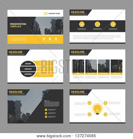 Yellow black Abstract presentation templates Infographic elements template flat design set for annual report brochure flyer leaflet marketing advertising banner template