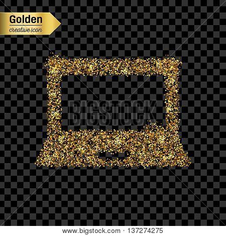 Gold glitter vector icon of notebook isolated on background. Art creative concept illustration for web, glow light confetti, bright sequins, sparkle tinsel, abstract bling, shimmer dust, foil.