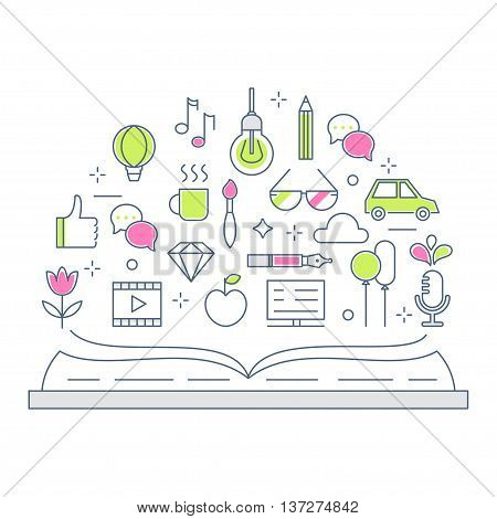 Reading and Storytelling Line Vector Flat Illustration