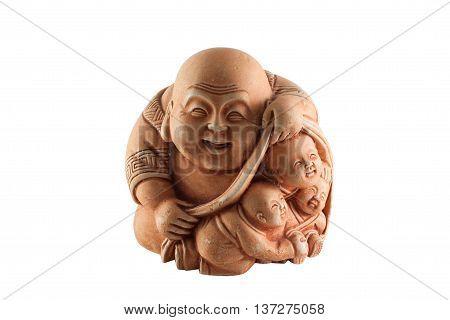 Cheerful Chinese God laughing Buddha figurine isolated on white background