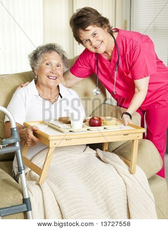 Caring nurse brings meal to home-bound senior woman.