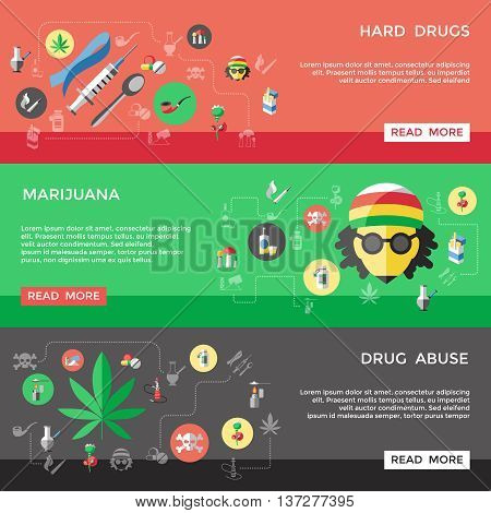 Flat drugs banner set with descriptions of hard drugs marijuana and drug abuse vector illustration