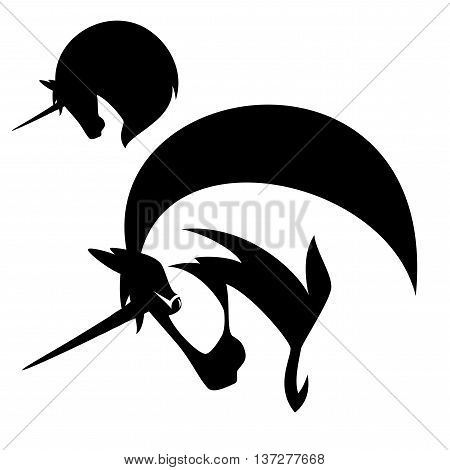 unicorn profile vector design - black and white horse head emblem