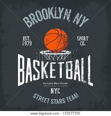 Streetball or urban sport team badge or sign, logo or banner of orange ball above basket with net. Varsity design for street sportswear or sport gear logotype on t-shirt