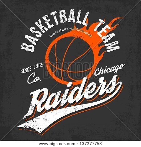 Raiders basketball team logo or sign of burning orange ball and text raiders below on gray. Can be used for exclusive sportswear or sport gear logotype or symbol, urban or street shirts.