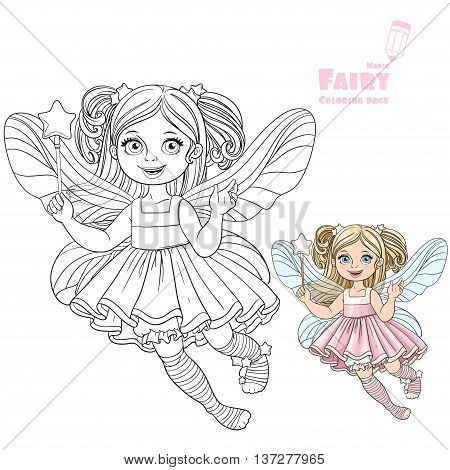 Cute little fairy girl with a Magic wand color and outlined picture for coloring book on a white background
