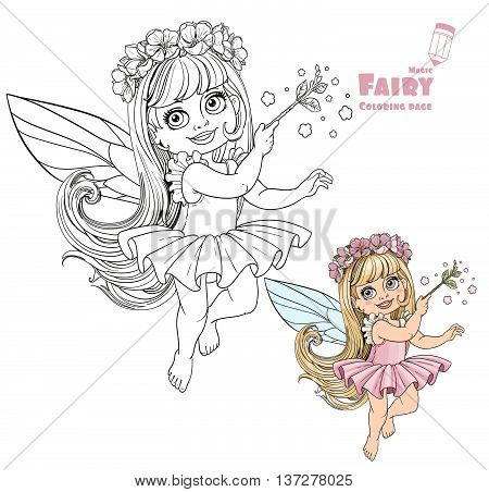 Little spring fairy girl with magic wand color and outlined picture for coloring book on white background