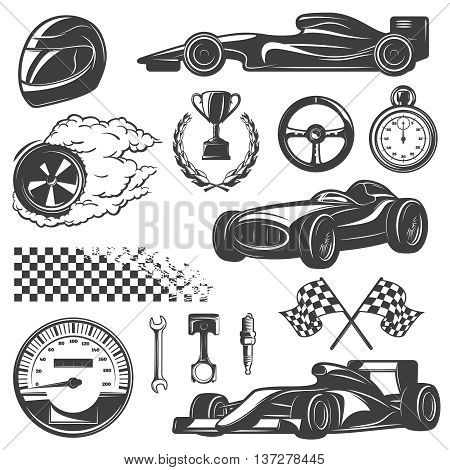 Racing black and isolated icon set with tools and equipment for street racer vector illustration
