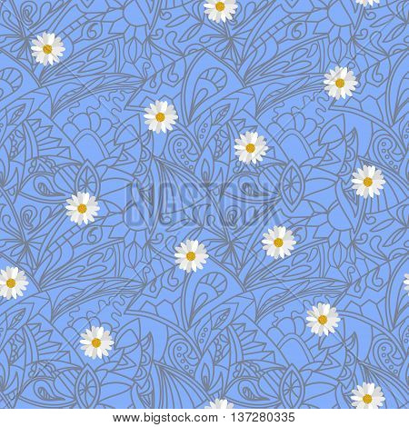 Light blue Flower daisies geometry striped  seamless pattern