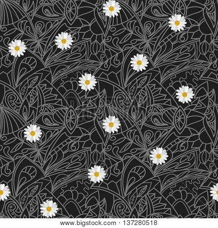 Black and white Flower daisies geometry striped  seamless pattern