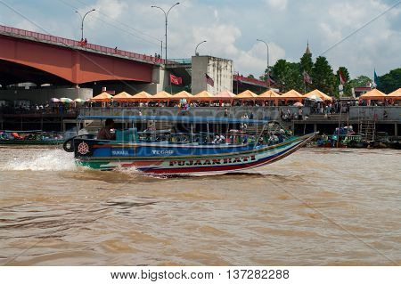 PALEMBANG INDONESIA - JULY 30 : Boat on Musi River July 30 2011 in Palembang Sumatra Indonesia.