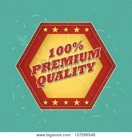 100 percentages premium quality - retro style hexagon label with text and stars, business concept, vector