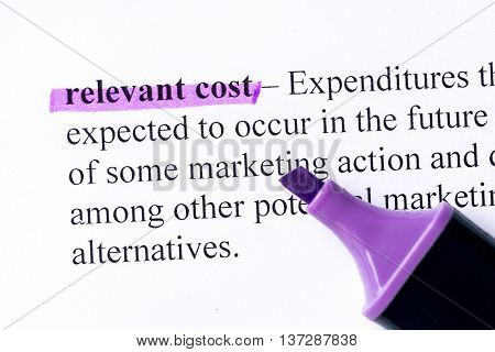 Relevant Cost Word Highlighted