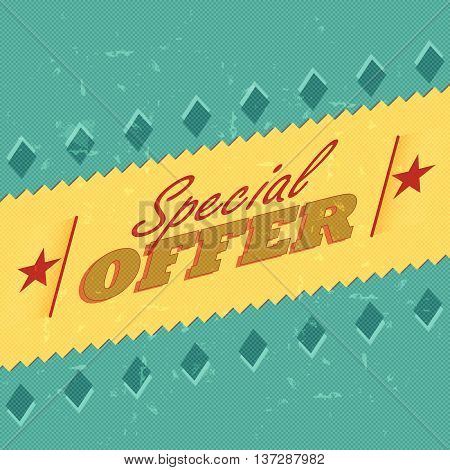 special offer - retro style label with text, rhombs and stars, business concept, vector