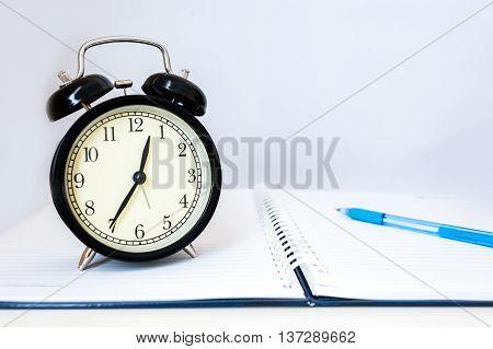 Retro Alarm Clock With Retro Colored In White Background, White Background With Retro Alarm Clock On