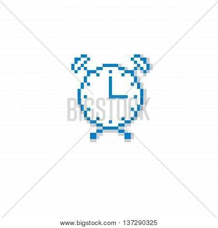 Vector pixel icon isolated 8bit graphic element. Simplistic alarm clock sign time idea.