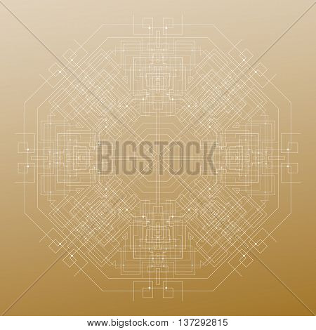 Abstract round technology pattern isolated on golden background, mandala template with connecting lines and dots, connection structure. Digital scientific vector.