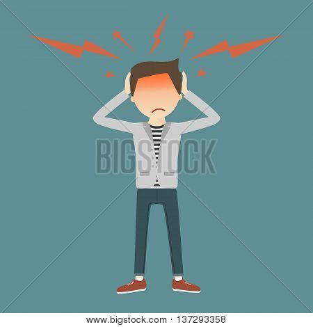 A young man grabs his hands to head, with symptoms of headache. Vector illustration flat design. Migraine attack concept