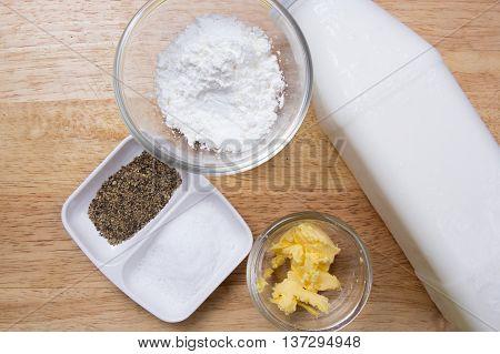 salt pepper milk flour butteringredient for cook porkchop / cooking porkchop steak concept