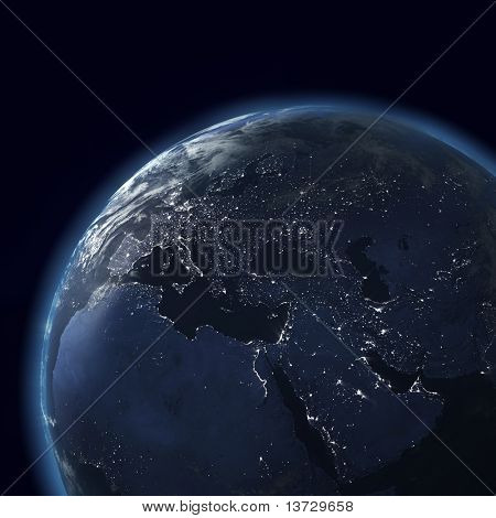night globe with city lights, detailed map of asia, europe, africa, arabia