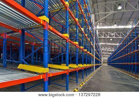 Warehouse shelving storage Inside view of metal pallet racking system