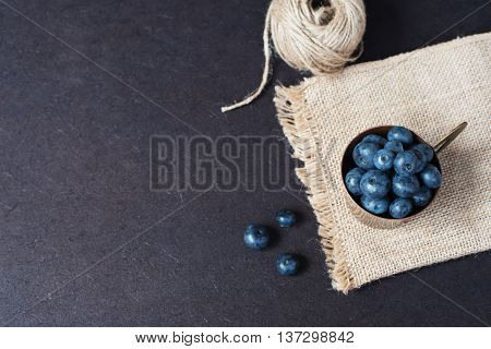 Fresh Blueberries Dark Picture With Copy Space On Left. Fresh Fruits, Berries In An Old Copper Cup,