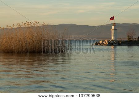 lighthouse on Lake Iznik at sunset, Iznik, Turkey