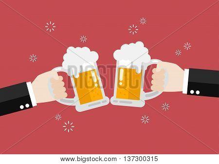Two businessmen toasting glasses of beer. Vector Illustration