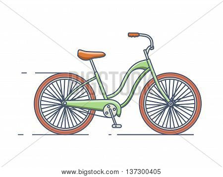 Bicycle isolated line style. Bike transport, vehicle and travel, transportation activity, vector linear style