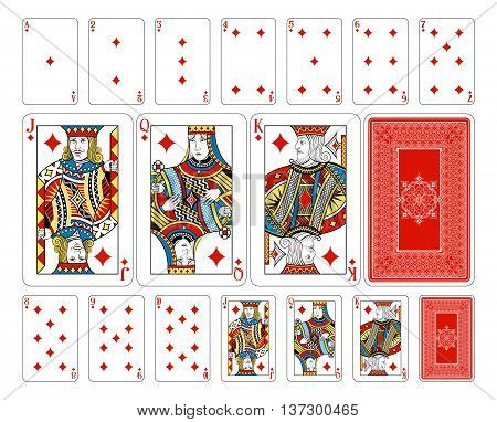 The deck features custom extremely detailed court cards with the appropriate suit symbol worked into the garb of the Jack, Queen and King characters in multiple ways. The joker and ace of spades playing cards feature new designs in a classic style with th