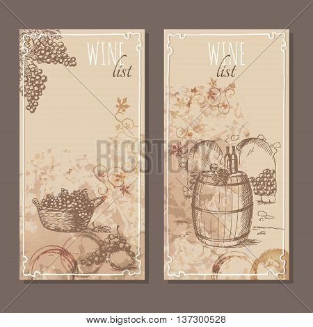 Wine list cards. Menu cards for wine collections with hand drawn sketches. Bunch of grapes. Testing wine on a barrel in a cellar. Vector illustration.