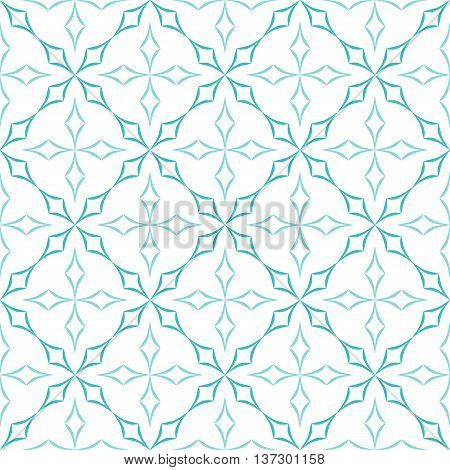 Abstract geometric pattern. Trellis of light blue curved diamonds on white background. Seamless repeat.