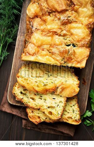 Vegetable moist bread with zucchini carrot cheese eggs